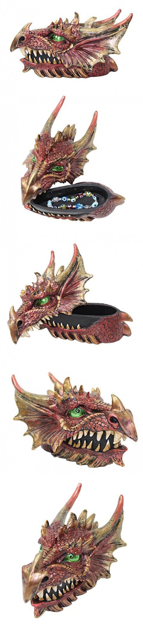 Mythical Red Western Dragon Head Jewelry Trinket Box Organizer Casket Dark Legend Halloween Medieval Party Home Decor Gift