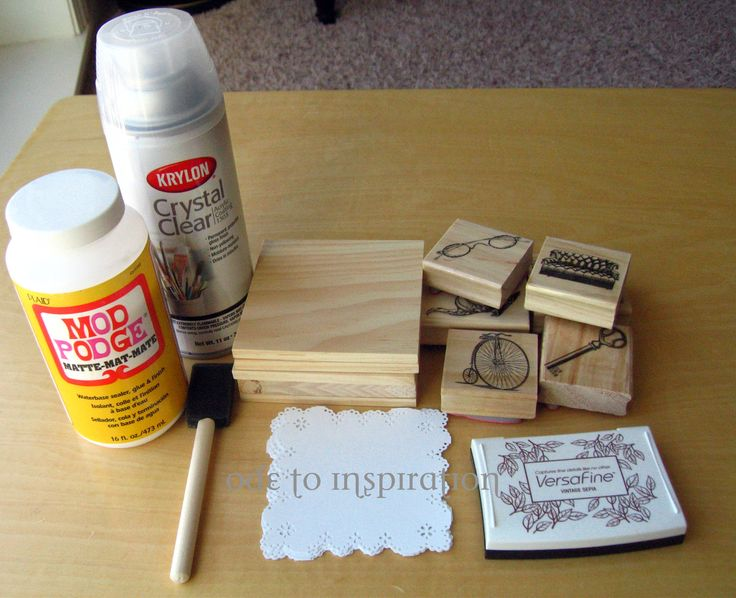 How to use mod podge mod podge wood coasters modge for Homemade coaster ideas