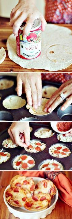 Mini tortilla pizzas via Fabulous Food Blog