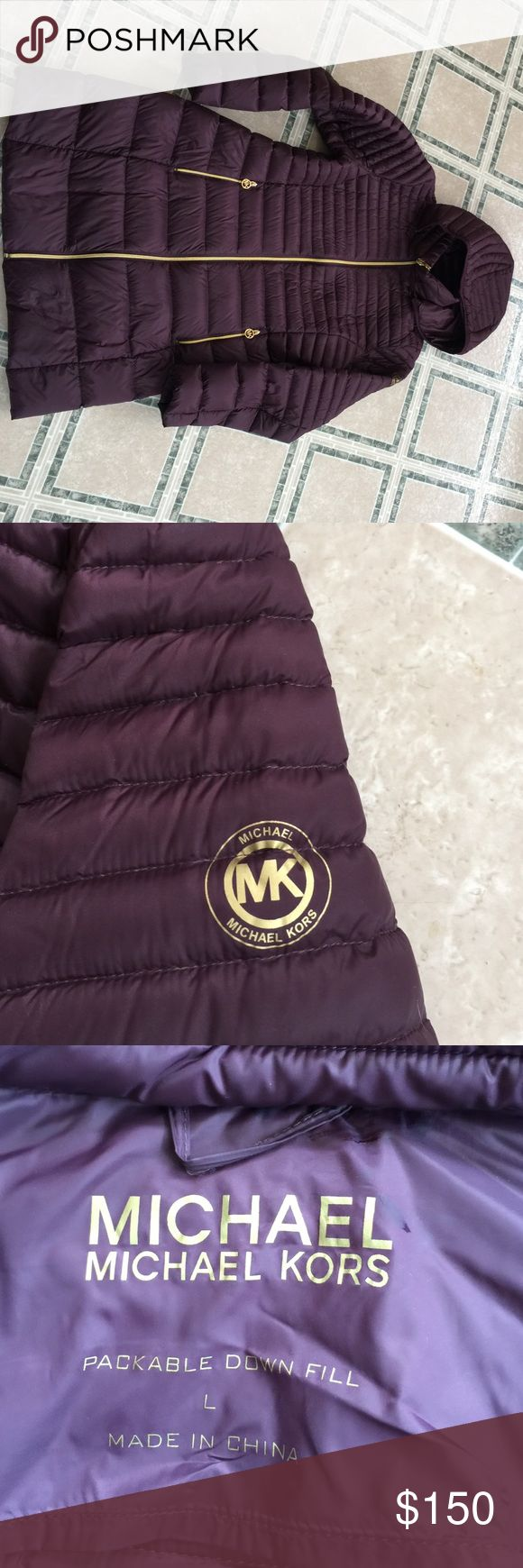 MICHAEL KORS PUFFER COAT -Large Gorgeous Cabernet color Michael kors puffer coat, long!  Included good.  Gold zipper detail.  Light packable but very warm.  This was only worn 2 times, it is just a little too big on me.  I'm a medium. MICHAEL Michael Kors Jackets & Coats Puffers