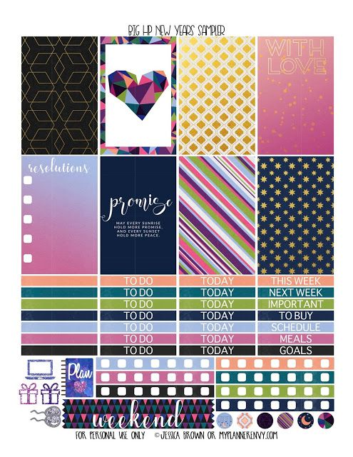 New Years Sampler for the Original Stay Golden Big Happy Planner from myplannerenvy.com