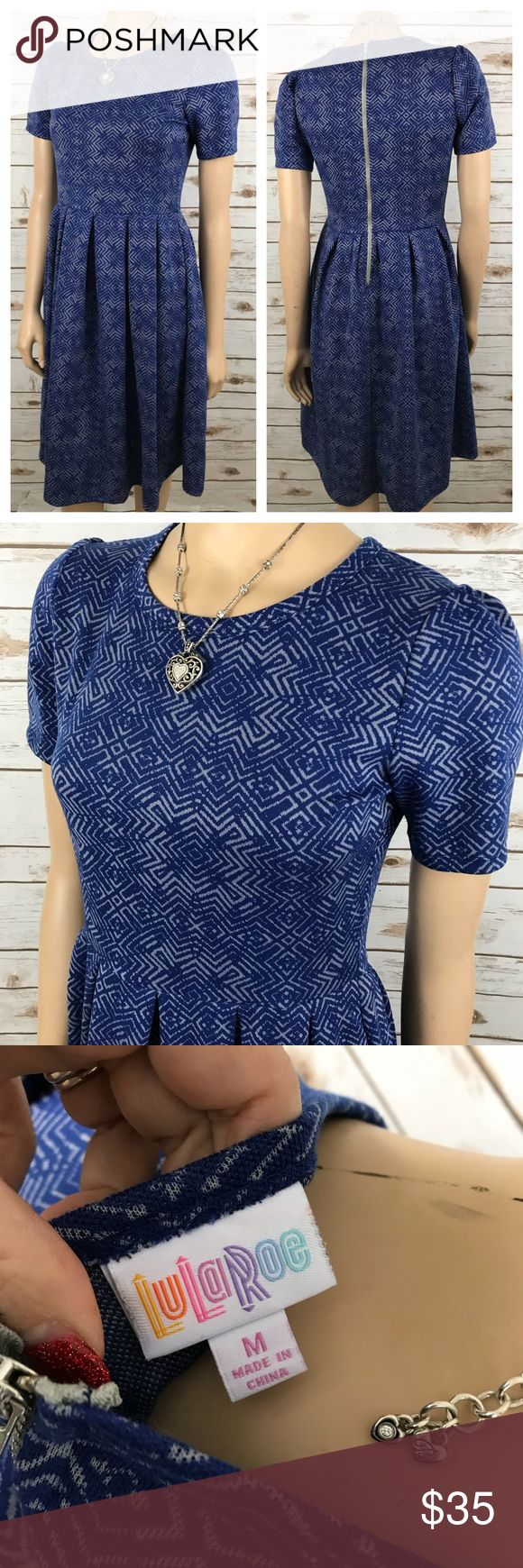 "Lularoe Amelia Dress M Blue Gray Printed Stretch Tag size - M Bust measured across - 17.5"" Length from shoulder to hem - 39"" Fabric Content - See Photo Great used condition! Always open to reasonable offers! LuLaRoe Dresses Midi"