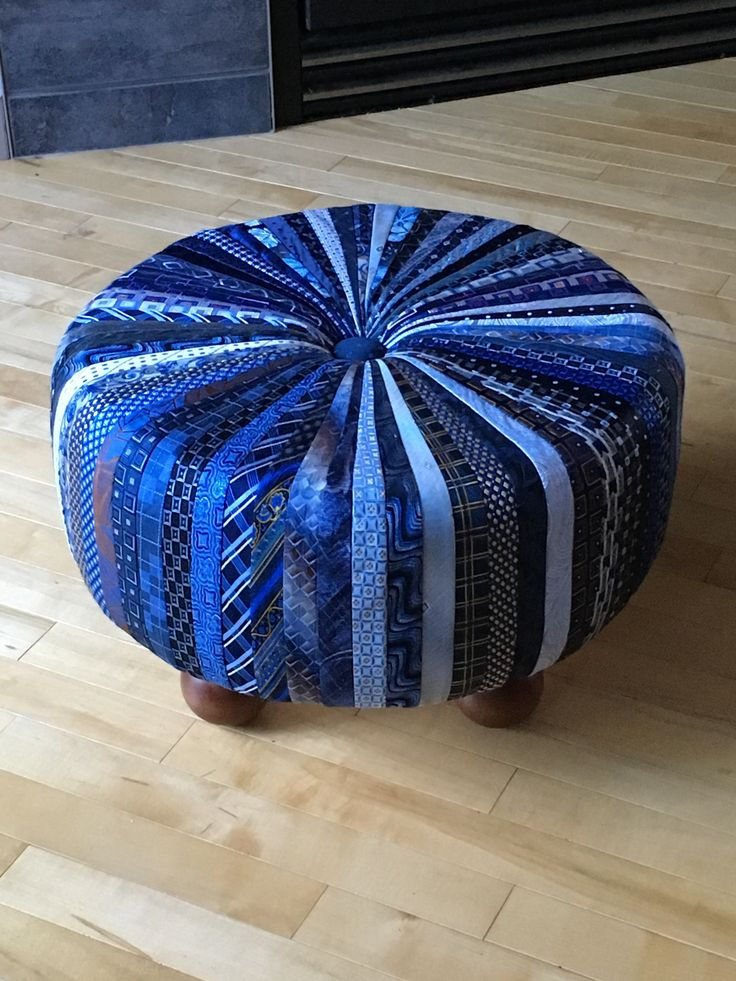 Tuffet made from old neckties! So much fun!