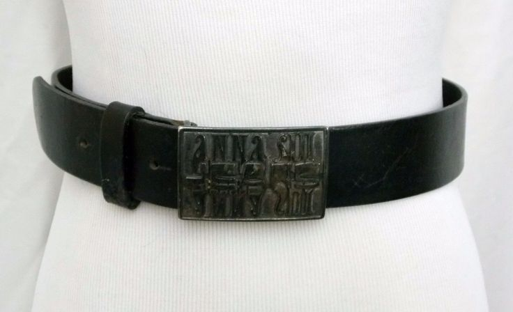 29.67$  Watch here - http://virqw.justgood.pw/vig/item.php?t=88alyac50792 - Anna Sui Jeans Belt Black Leather Chunky Buckle Italian Size 44 US M - L Vintage