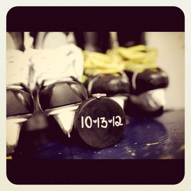 Cute idea for an engagement picture or save-the-date! #Hockey #Wedding #Photography
