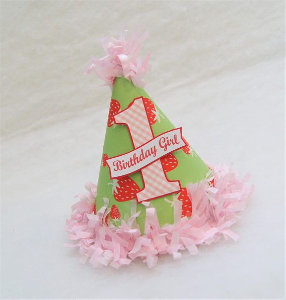 NEW Strawberries and Gingham Party Hat - strawberry shortcake birthday party, picnic birthday party