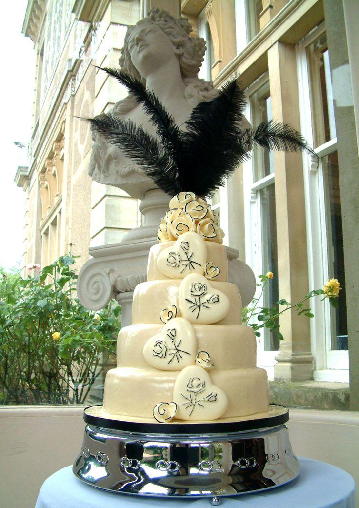 Black and white themed chocolate wedding cake.  See www.serendipitycakes.co.uk