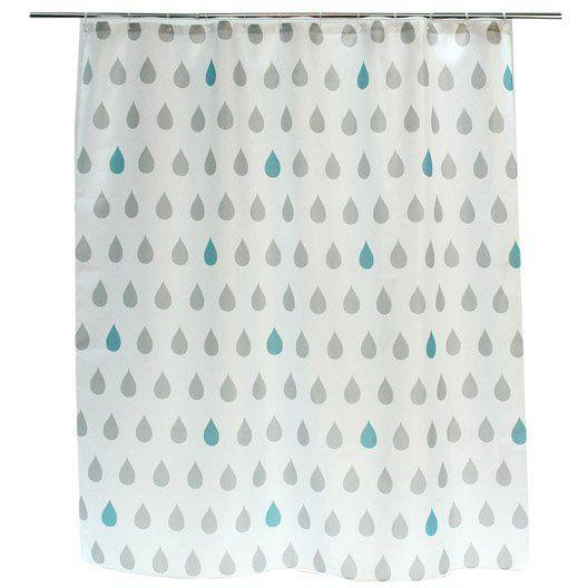 Rideau de douche en tissu Drop SENSEA, gris, 180 x 200 cm