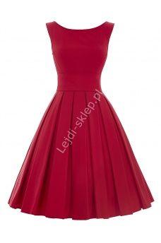 Czerwona wizytowa sukienka z plisowanym dołem | czerwone sukienki, sukienka na wesele, studniówkę, komunie