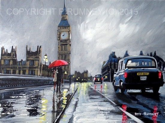PETE RUMNEY FINE ART BUY ORIGINAL ACRYLIC OIL PAINTING LONDON BIG BEN TAXI CAB