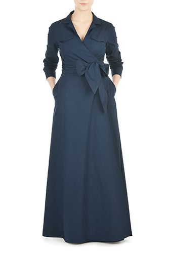 eShakti Womens Sash tie poplin maxi wrap dress $74.95 AT vintagedancer.com