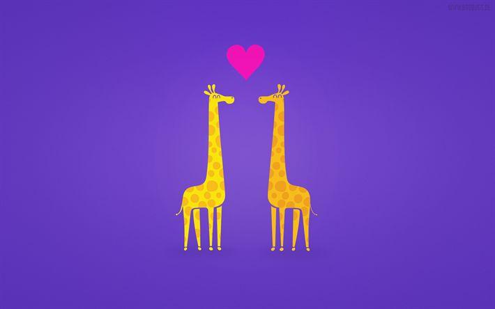 Herunterladen hintergrundbild giraffe, liebe, minimal, cartroon tiere, violetten hintergrund