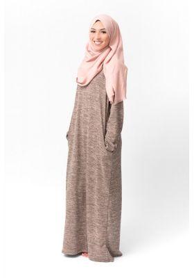 5b9a8c3cfb0 Robe hiver pas cher taupe pour femes musulmanes voilées boutique hijab  moderne en mode pudique