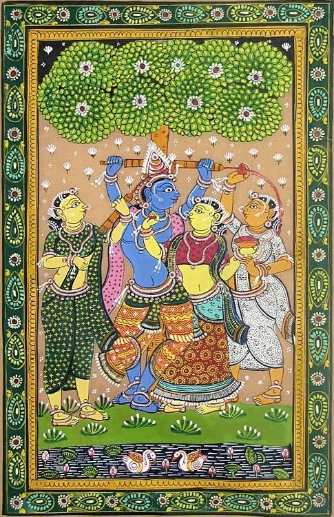 Radha Krishna Playing Holi (Orissa Paata Painting on Tussar Silk - Unframed))