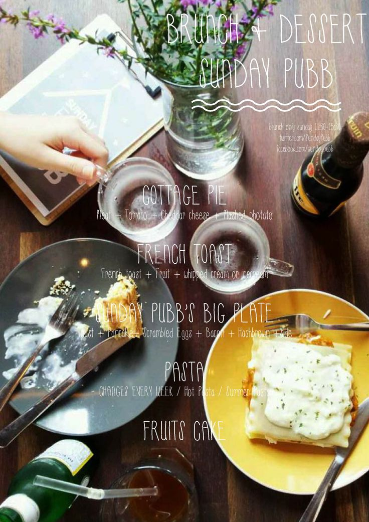 summer cold lasagne cake coffe and beers on brunch table poster