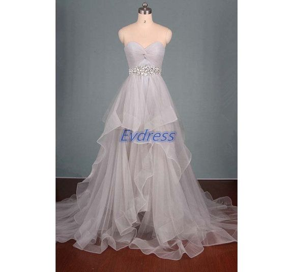 2016 long gray tulle prom dresses with crystals latest inexpensive women gowns for party cheap wedding dress on sale hot