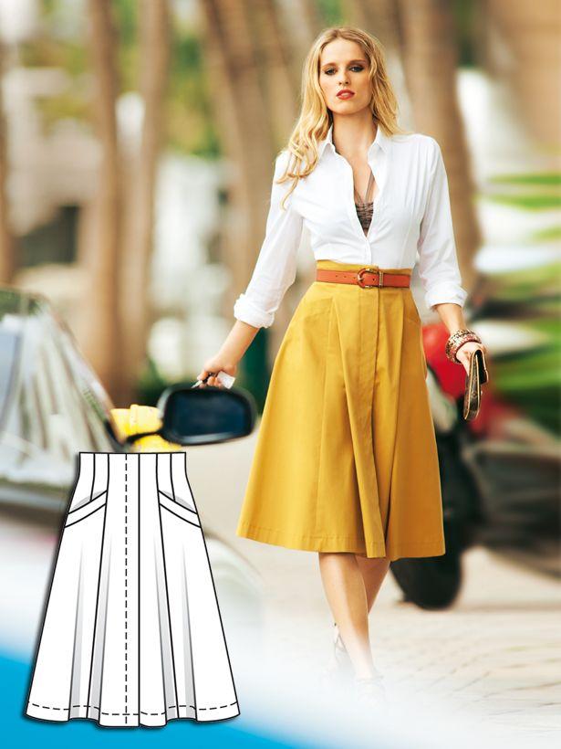 Flared Godet Skirt Pattern - 05/2012 #106B (BurdaStyle Magazine) http://www.burdastyle.com/pattern_store/patterns/flared-godet-skirt-052012