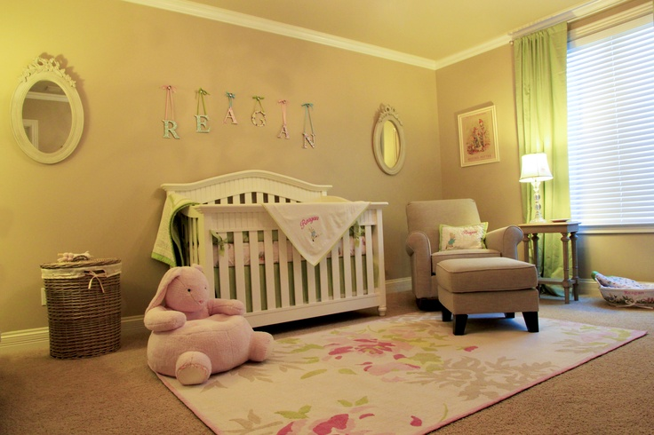 Peter Rabbit Nursery, colors and like chair color.  could also be nice with a white chair with distressed wood frame