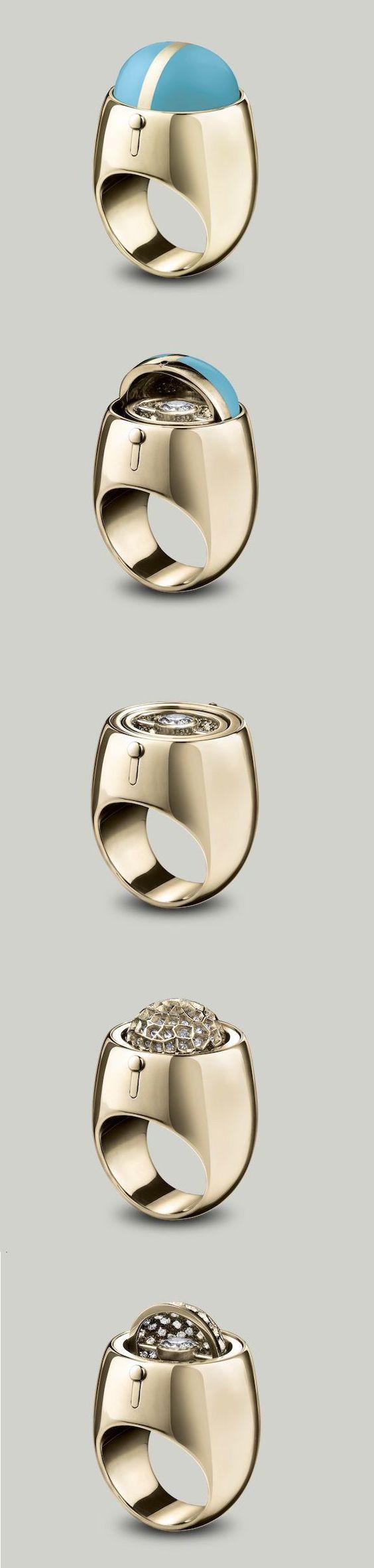 Solange Azagury-Partridge Secret Diamond ring An enamel dome swivels to reveal a brilliant cut Diamond sitting in a pavé Diamond set cup in 18ct yellow gold