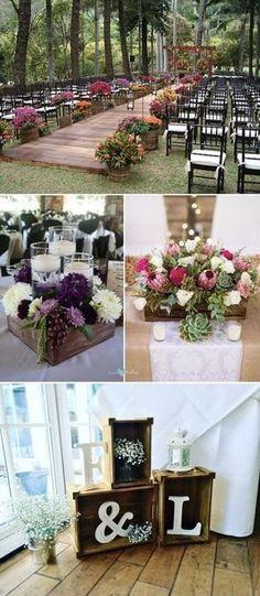 Ideas de decoración para bodas con palets y cajones de madera.