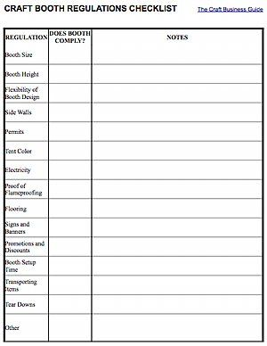 Craft booth regulations checklist free to download at http://www.inspiri-art-and-craft.com/art-booth.html