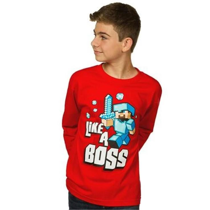 Minecraft Like a Boss Boys 8-20 Long Sleeve Tee Priced to Clear Free Shipping