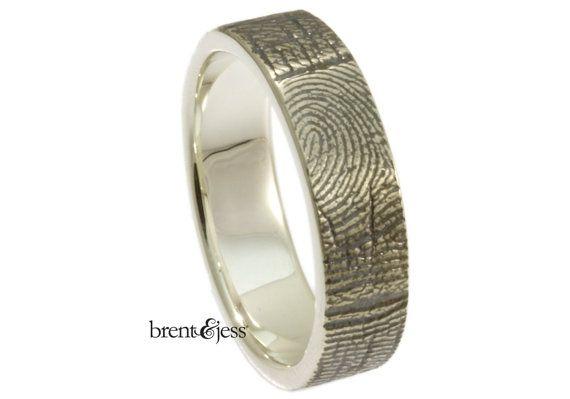 Custom Fingerprint ring 6mm Sterling Silver by fabuluster on Etsy, $225.00