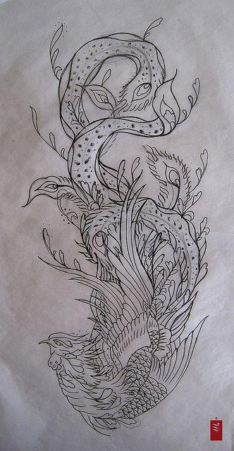 Phoenix Tattoo flash by yoso tattoo (www.yoso.eu), via Flickr