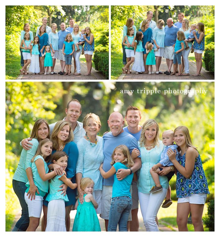 Family Pictures Green And Blue