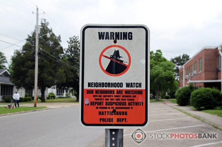 Stockphotosbank: Warning sign: Neighbourhood watch, from Hattiesburg Police Dept.