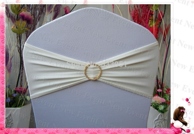 Ivory Color Single Layer Lycra Bands With Gold Round Diamond Buckle For Wedding Party Banquet Decoration