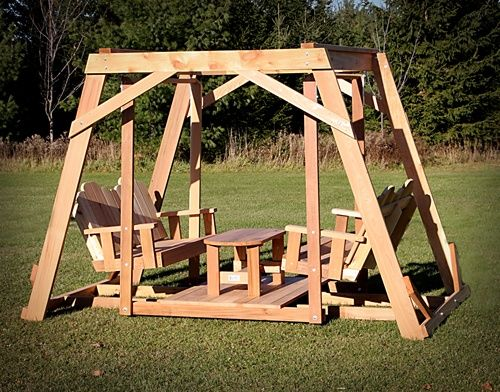 Timestopper double seated swing gliders swings and yards for Garden swing seat plans