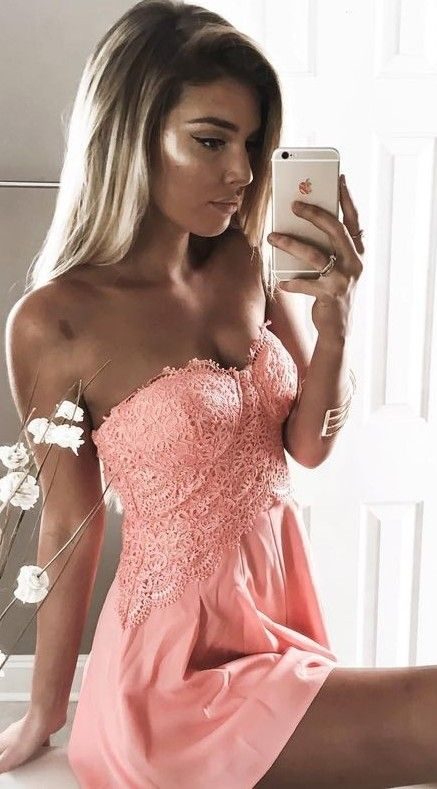 #summer #trending #outfitideas | Coral Lace Bustier Playsuit