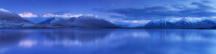 "Twilight Heron - Lake Heron New Zealand  I did this image for a bit of fun. The actual scene is a blue hour shot taken on a freezing morning with a dusting of snow having fallen the afternoon prior. There were faint stars but not at the same time of day . I've been editing a few panorams for the Epson panorama awards and this one won't be one of them entered but I hope you like the fantasy element to it!  <a href=""http://www.facebook.com/everlookphotography"">[Facebook]</a>  <a…"