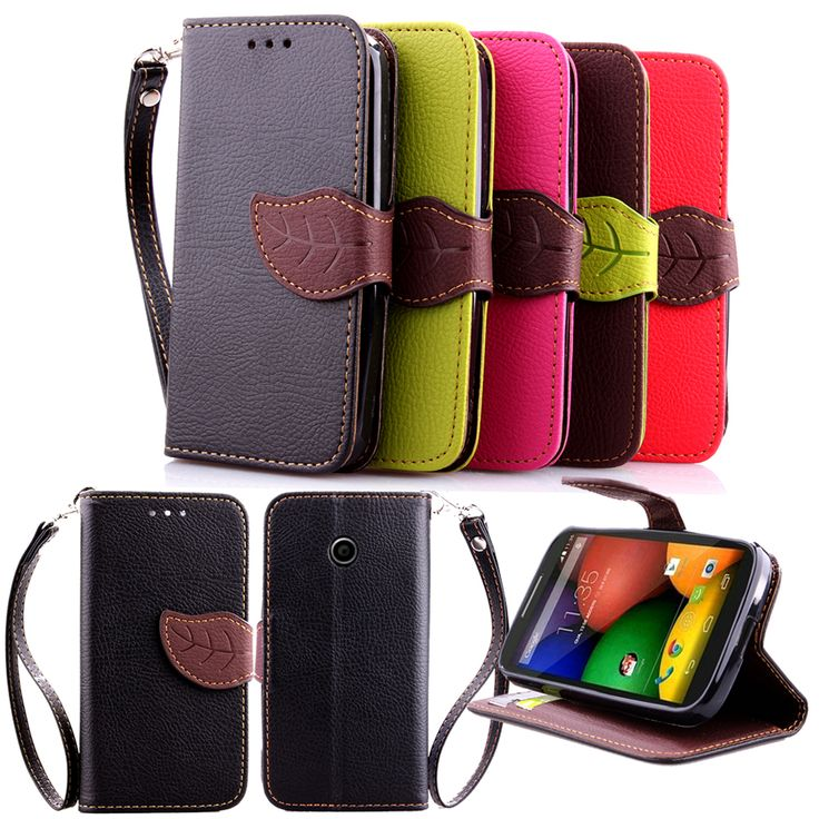 For Motorola MOTO E Case Leaf Clasp Stand Flip Leather Cases Stand Function Card Slot Wallet Case Cover black For MOTO E1