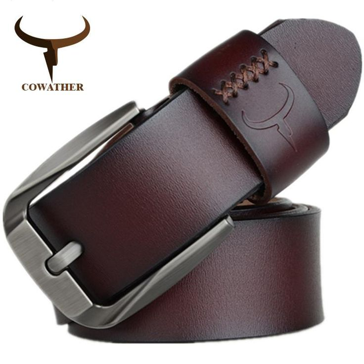 COWATHER Vintage style pin buckle cow genuine leather belts for men