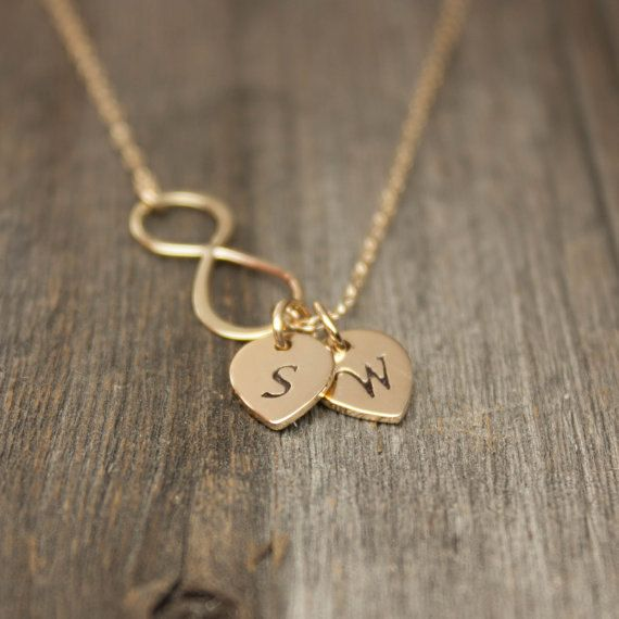 Gold Infinity Necklace - Personalized Jewelry.  Monogram Initial Gift for Couples, Mr. Mrs., His Hers. Bronze, Gold-Dipped & Solid Gold