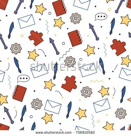 Seamless vector pattern with mail envelope, pen, stars, notebook and arrows