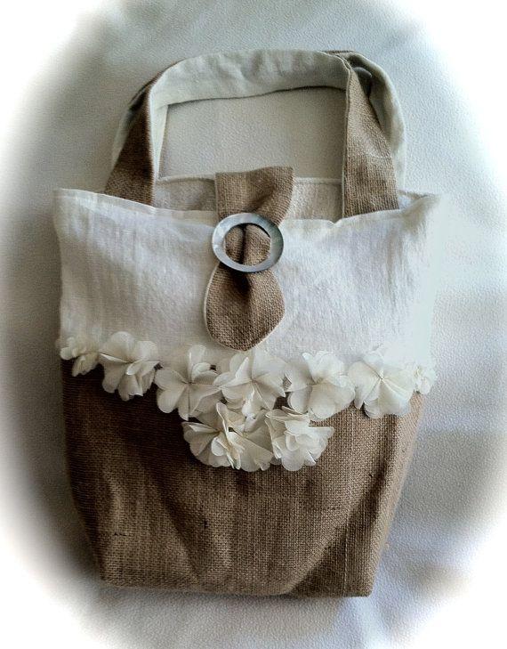 white linen and natural burlap bag. woven tote, beach tote, natural fiber tote, carryall, women's handbag, purse, neutral handbag, tote bag