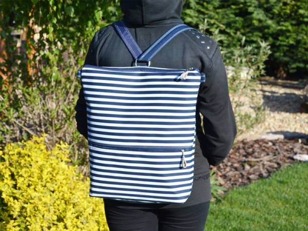 Handamde Canva Backpack - Navy Striped Design