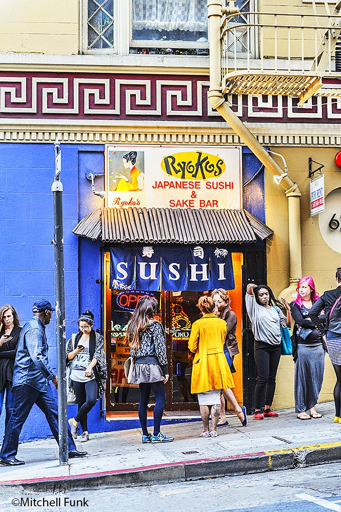 Young People In Front Of Sushi Restaurant In The Tenderloin,San Francisco By Mitchell Funk www.mitchellfunk.com