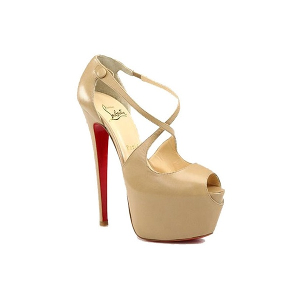 shoes-Christian Louboutin Red Bottom 160mm Exagona Crisscross Sandals Beige