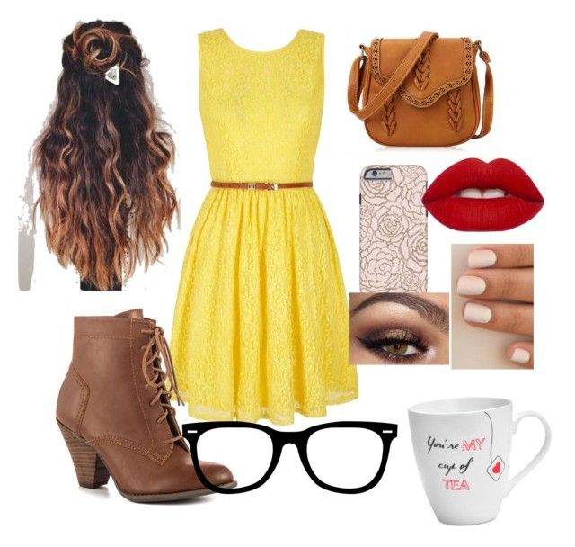"""Hipster Belle from Beauty and the Beast"" by klinneao on Polyvore featuring Yumi, Mojo Moxy, Lime Crime and Pfaltzgraff"