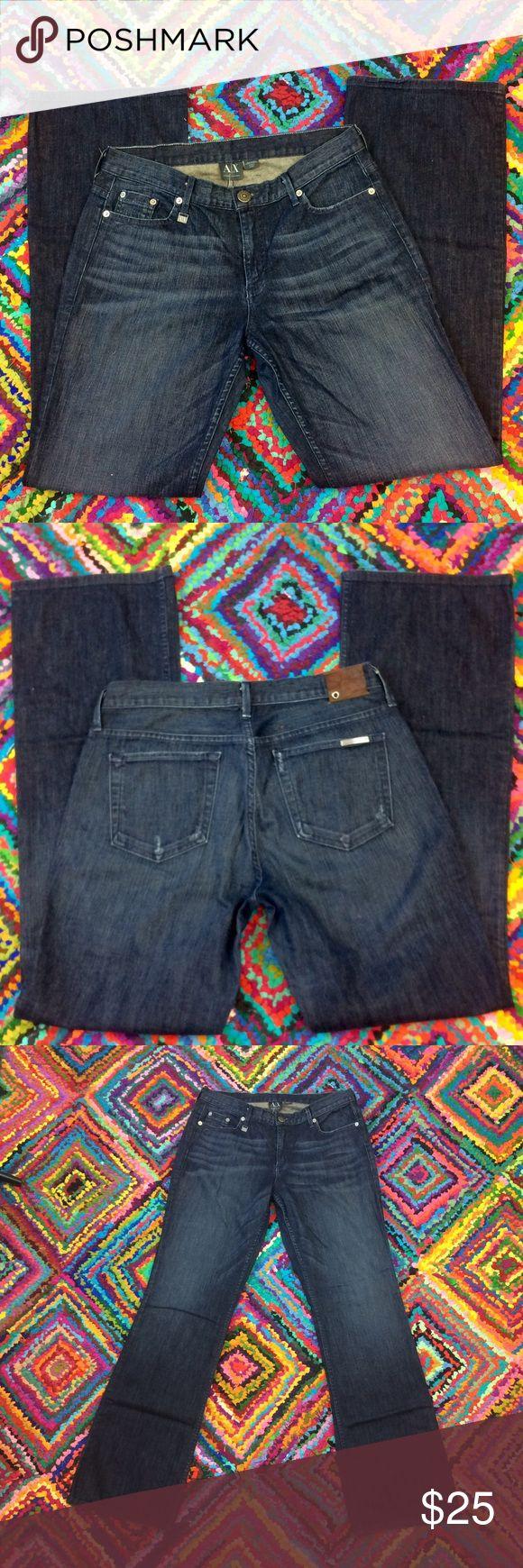 """ARMANI EXCHANGE Size 10 Dark Wash Jeans Armani Exchange Jeans Size 10.  Inseam 33"""" 97% Cotton 3% Lycra Dark Blast color. A/X Armani Exchange Jeans Boot Cut"""
