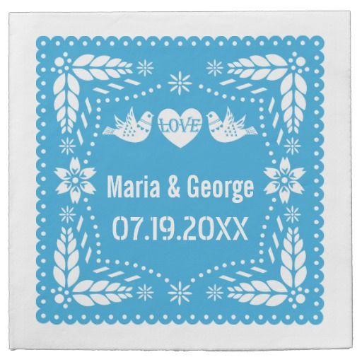 Papel picado love birds blue wedding fiesta disposable paper napkins. #papernapkins, #lovebirds, #wedding, #papelpicado