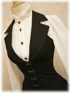 oh my gosh that is sooo curvalishouis I totally love this waistcoat and prim blouse look!