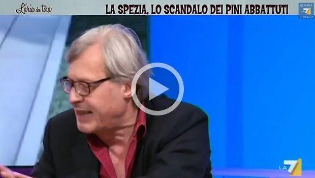 """L'aria che tira, Sgarbi contro sindaco de La Spezia: """"E' la mer*a d'Italia!"""" [VIDEO]"""
