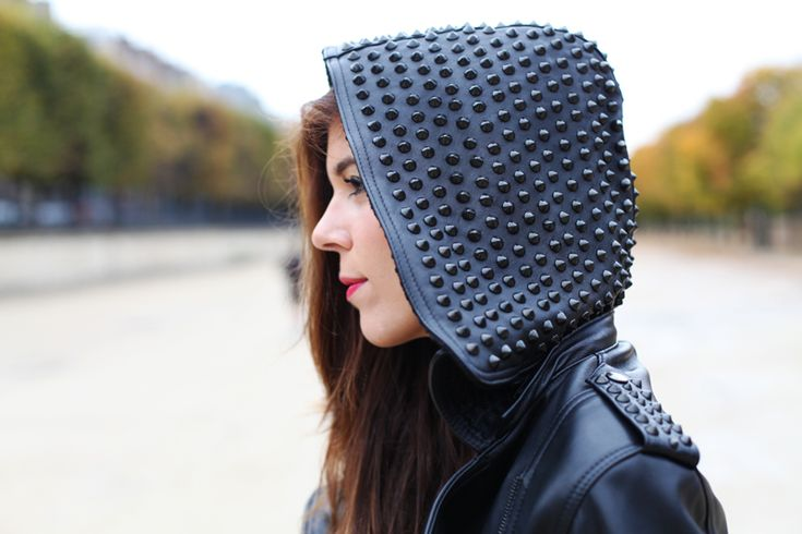 Studded everywhere! This leather jacket is very cool :)