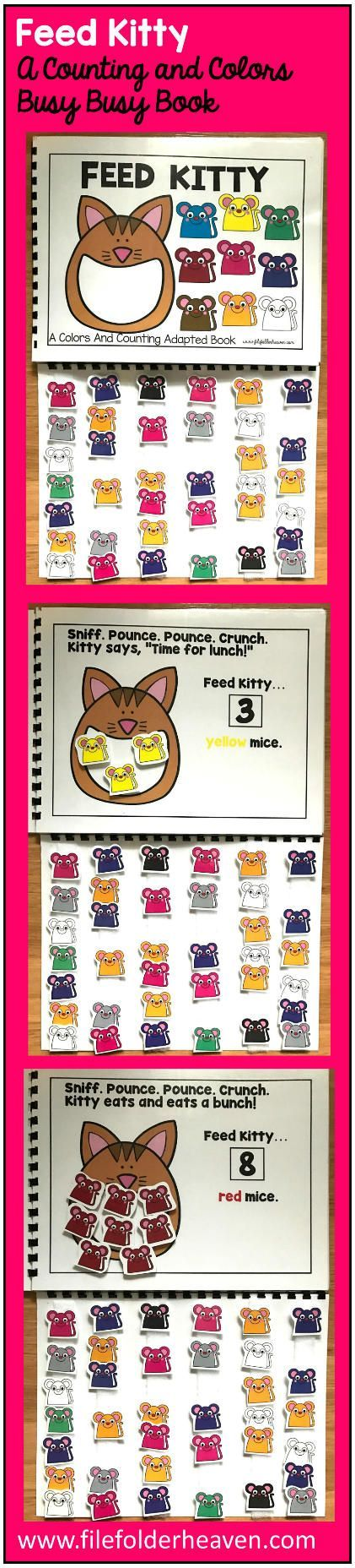 This Feed Kitty Colors and Counting Adapted Book is an adapted book that focuses on colors and counting in a fun and interactive way. In a small group, independent center or independent work station. A teacher or student reads through the book and feeds the animal or critter, the correct number and color the food on each page. Sample text: