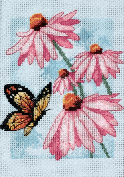 Butterfly & Blossoms Mini Counted Cross Stitch Kit-5 X7 Blue